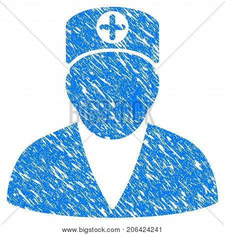 Grunge Medic Person icon with grunge design and scratched texture. Unclean vector blue Medic Person pictogram for rubber seal stamp imitations and watermarks. Draft sign symbol.