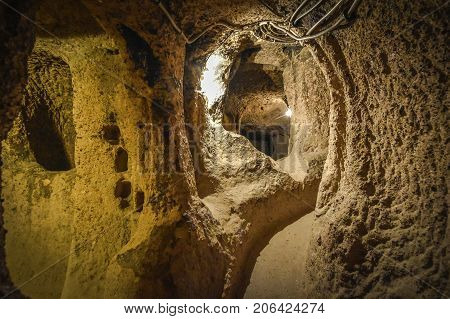 The Derinkuyu Underground City Is An Ancient Multi-level Cave City In Cappadocia, Turkey.