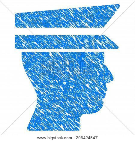 Grunge Officer Head icon with grunge design and scratched texture. Unclean vector blue Officer Head pictogram for rubber seal stamp imitations and watermarks. Draft sticker symbol.