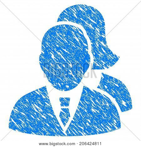 Grunge People icon with grunge design and unclean texture. Unclean vector blue People pictogram for rubber seal stamp imitations and watermarks. Draft sticker symbol.
