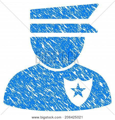 Grunge Policeman icon with grunge design and dust texture. Unclean vector blue Policeman pictogram for rubber seal stamp imitations and watermarks. Draft sign symbol.