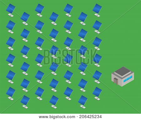 Solar panels plant. Solar energy station isometric. Set of solar panel and control building. Vector illustration.