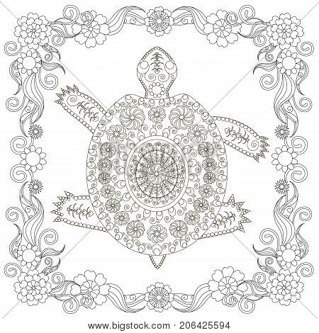Anti stress abstract turtle, square flowering frame hand drawn monochrome vector illustration