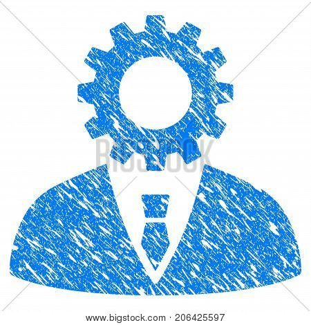 Grunge Soulless Official Bureaucrat icon with grunge design and unclean texture. Unclean vector blue Soulless Official Bureaucrat pictogram for rubber seal stamp imitations and watermarks.