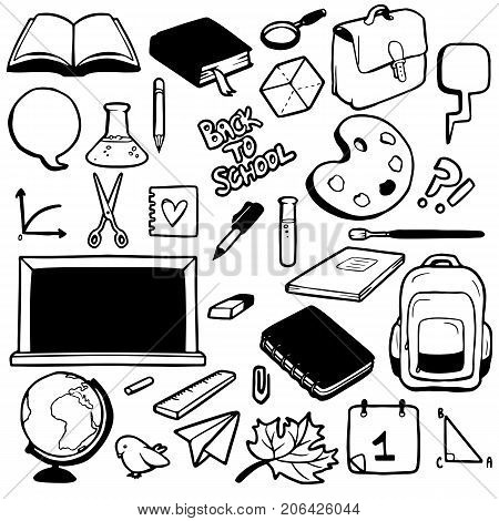 Set of various school elements vector illustration