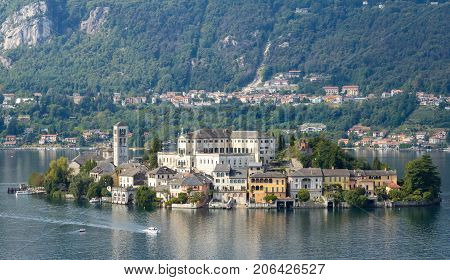 San Giulio island in the middle of Orta Lake Piedmont Northern Italy