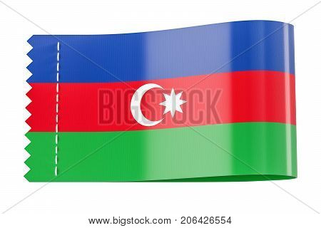 Clothing tag label with flag of Azerbaijan. 3D rendering isolated on white background