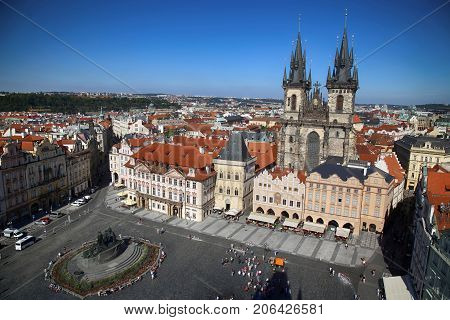 Panoramic view of Old Town Square from The Prague City Hall (clock tower) in Prague Czech Republic