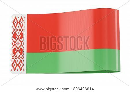 Clothing tag label with flag of Belarus. 3D rendering isolated on white background