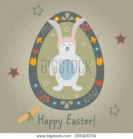 Festive Easter Egg with Cute Character of Bear. From Happy Easter Animal Collection. Creative Card. Vector Illustration.