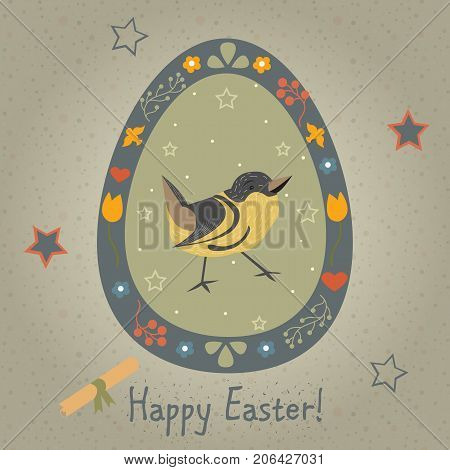 Festive Easter Egg with Cute Bird. From Happy Easter Animal Collection. Creative Card. Vector Illustration.