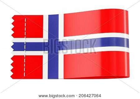 Clothing tag label with flag of Norway. 3D rendering isolated on white background