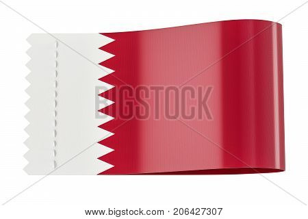 Clothing tag label with flag of Qatar. 3D rendering isolated on white background