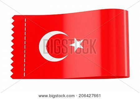 Clothing tag label with flag of Turkey. 3D rendering isolated on white background