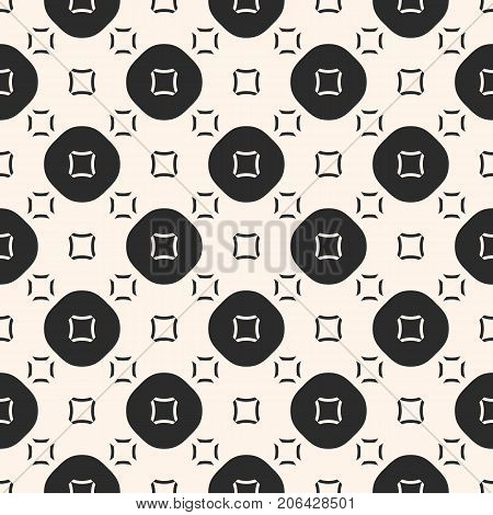 Vector geometric seamless pattern. Funky style background.  Smooth geometric shapes, circles, squares. Abstract monochrome geometric background texture. Modern stylish pattern, repeat tiles. Decorative design for prints, textile, fabric, carpet