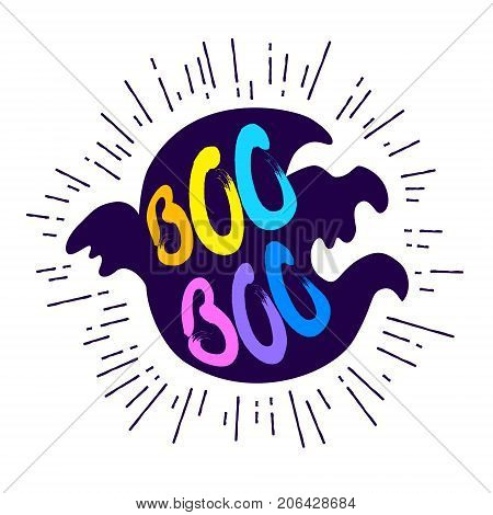 Ghost with lettering text Boo on white background. Vector color sticker.