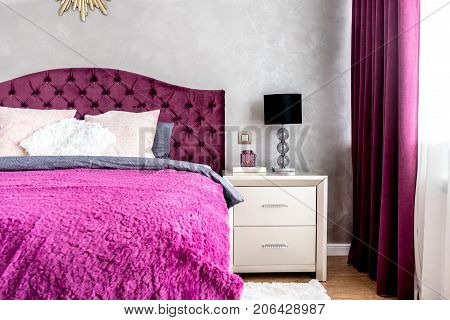 Matrimonial Double Bed In Elegant And Comfortable Modern Bedroom. Interior Design Details