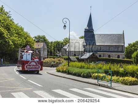 Sainte Marguerite sur Mer France - July 09 2015: Banette Vehicle during the passing of Publicity Caravan before the stage 6 of Le Tour de France 2015 on 09 July 2015. Banette is the leading brand for the artisan bread in France.