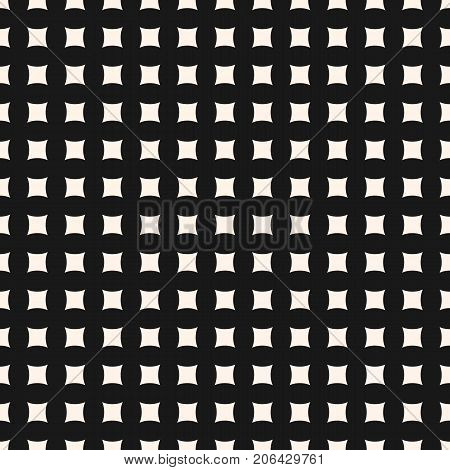 Squares background texture. Simple vector geometric seamless pattern with small curved square shapes, regular grid, perforated surface. Abstract monochrome texture. Minimalist background, repeat tiles. Design for decor, fabric, textile, digital, web