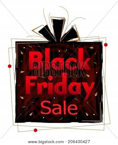 Decorative clip-art of a black and red present with