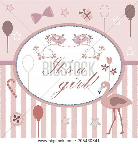 Baby girl Birth announcement shower invitation card. Cute Pink Flamingo Bird announces the arrival of a baby girl. Card Design with stripes festive balloons stars etc.