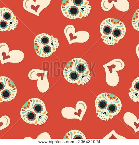 Day Of The Dead Sugar Skull Love Seamless Pattern