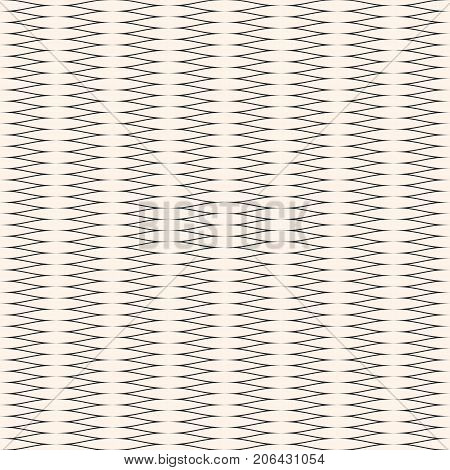Vector seamless pattern horizontally elongated mesh. Abstract geometric texture with thin curved interlaced lines. Delicate monochrome background texture, repeat tiles. Pattern design for decoration, fabric, covers, print, digital, web