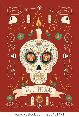 Day Of The Dead Hand Drawn Mexican Sugar Skull Art