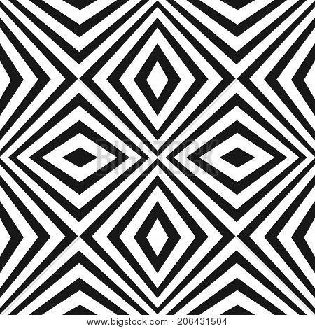 Vector seamless pattern with black and white stripes. Texture with crossing, diagonal striped lines, rhombuses. Monochrome geometric background, repeat tiles. Pop art style. Tileable design element. Stripes pattern. Line pattern. Rhombuses pattern.