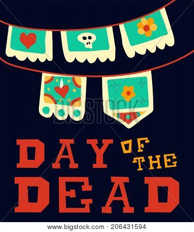 Day Of The Dead Traditional Mexican Paper Cut Flag