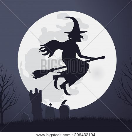Halloween Scary Witch Flying On A Broomstick in the light of the full moon