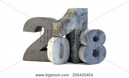 New 2018 year rock figures isolated on white background. 3D rendered Illustration for advertising.