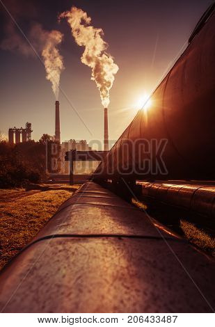 Power station with smoking chimney symbol of environmental pollution