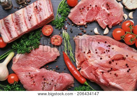Different types of meat on table
