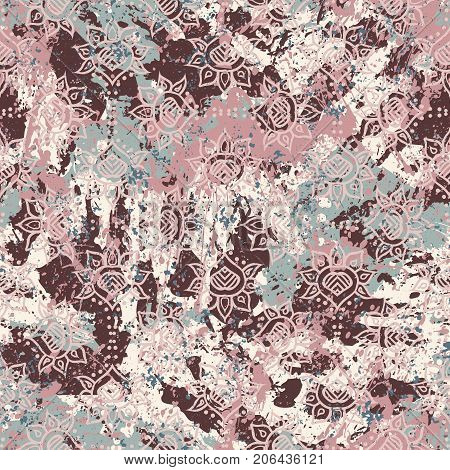 Vector watercolor splashes pattern in pastel color. Bold bohemian print for fashion and retro textile design with ethnic and tribal motif. Seamless vintage grunge background. Brushstrokes and splatter