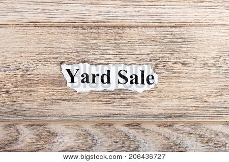 yard sale text on paper. Word yard sale on torn paper. Concept Image.