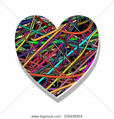 Illustration of a colorful heart as a symbol of love.
