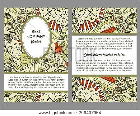 Brouchure design template for company with beige and orange floral doodle pattern, vector illustration