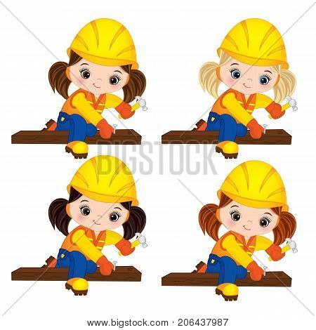 Vector cute little girls hammering nails. Vector construction. Vector little girls with various hair colors. Little builders vector illustration