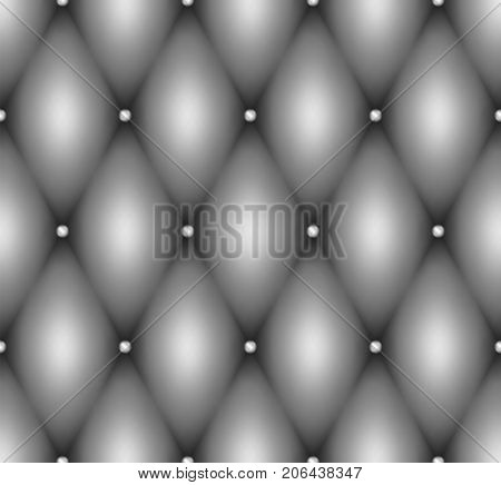 Seamless Gray Leather Upholstery Texture With Metal Buttons. Luxury Textile Design, 3D Effect F Butt
