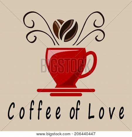 Illustration of coffee love on brown background.