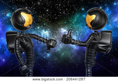 Thumbs Down Thumbs Up The Original 3D Astronaut Characters Illustration