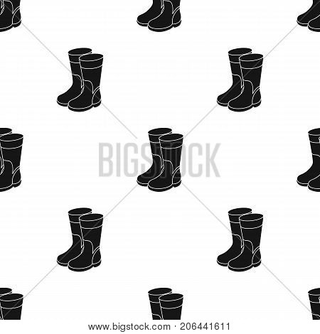 Rubber boots icon in black design isolated on white background. Fishing symbol stock vector illustration.