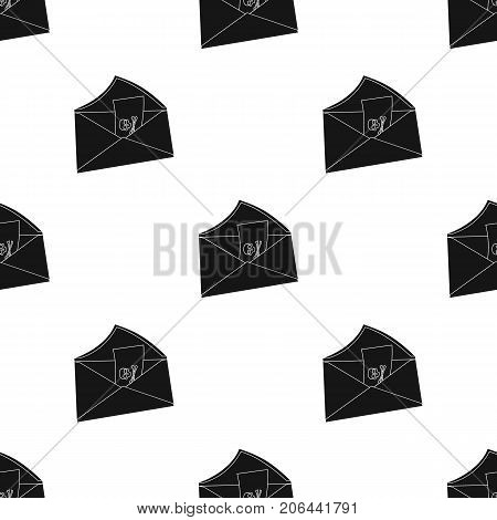 E-mail with virus icon in black design isolated on white background. Hackers and hacking symbol stock vector illustration.