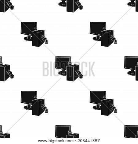 Computer worm icon in black design isolated on white background. Hackers and hacking symbol stock vector illustration.