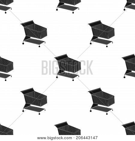 Shopping cart icon in black design isolated on white background. Supermarket symbol stock vector illustration.