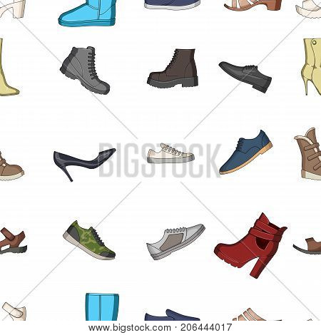 A set of icons on a variety of shoes.Different shoes A set of icons on a variety of shoes.icon in cartoon style vector symbol stock web illustration.