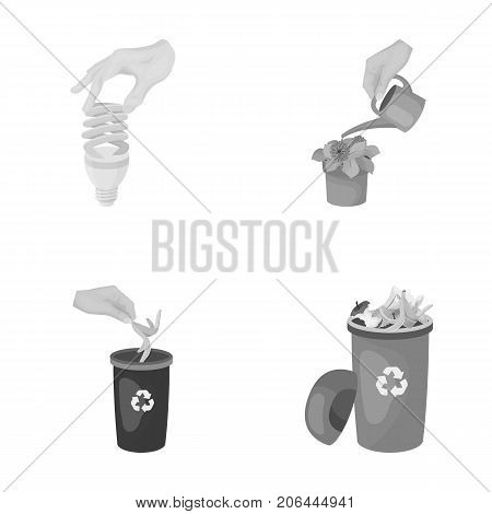 Energy-saving light bulb, watering a houseplant and other  icon in monochrome style. garbage can with waste and garbage icons in set collection.