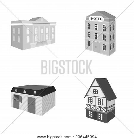 The museum building, a three-story hotel, a stable at the racecourse, a residential cottage. Architectural building set collection icons in monochrome style vector symbol stock illustration .