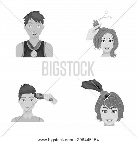 Athlete with a medal, a haircut with an electric typewriter and other  icon in monochrome style. Women's haircut, hair coloring in the hairdresser's icons in set collection.